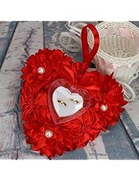 Lamdoo - Caja de Anillos para decoración de Boda, diseño de Flores, Color Azul