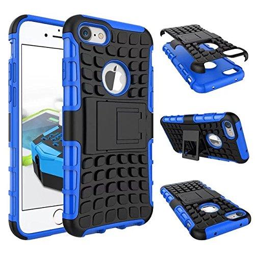 """iPhone 7 Hülle, Valenth 2 in 1 Rüstung Hart zurück Hülle mit Ständer Stoß- Anti-Rutsch-Case Schutzhülle Hülle für iPhone 7 4.7 """"Schwarz Blue"""