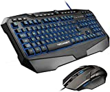 TeckNet Gryphon LED Illuminated Programmable Gaming Keyboard and Mouse Set, Water-Resistant Design, UK layout