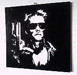 Terminator Arnold Schwarzenegger Rahmen modern Movie Art-Holz MDF handbemalt Pop Art Effect FORMATO 50 X 50 CM