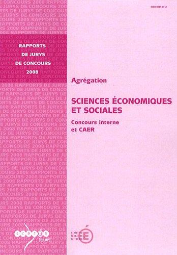 Agrégation Sciences Economiques et Sociales : Concours interne et CAER