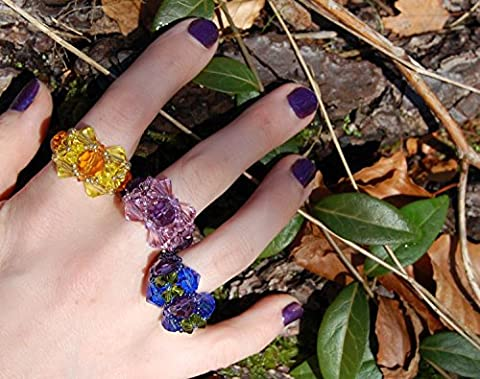 Yellow and gold crystal ring, fairy rings, Elf Queen costume jewellery made with golden amber yellow crystals, Victorian fairy, unique Christmas gift ideas, woven beaded ring customisable size and