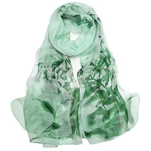 Seidenschal Damen 100% Seiden Schal Elegante Seidentuch Hautfreundlich Anti-Allergie Halstuch XXL 180 * 110cm (Große Stola - Grün) MEHRWEG
