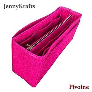 [Artsy GM] JennyKrafts Purse Insert (3mm Felt, Detachable Pouch w/Metal Gold Zip), Tote Bag Organizer Pockets