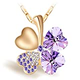Joyfulshine Collar Mujer Púrpura Cristales Trébol Colgante Forma del...