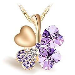 Idea Regalo - Joyfulshine Collana da Donna con Viola Cristalli Quadrifoglio,18K Oro Placcato Lega Ciondolo Collana per Regalo Ragazza