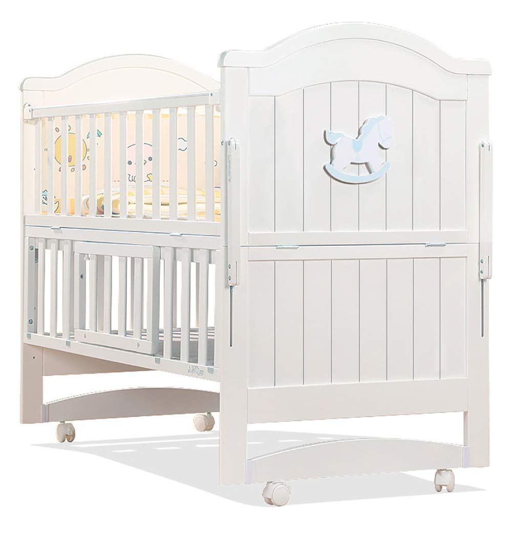 VBARV Solid Wood Crib, Multi-function Cradle Bed, Children's Splicing Bed, Portable Folding Bed, Suitable for Infants 0-8 Months Cute Nest VBARV The multifunctional bassinet design is suitable for use as a standalone crib, or as a co sleeper crib. Interchangeable modes allow either a stable or rocking mode at the touch of a button CONVERTIBLE: Simply pull up the side rail and use the cot as a stand-alone bed or bassinet during the day. Four lockable wheels make it easy for you to move from one room to another having your newborn always on your side. Modern travel crib in easily foldable,Mosquito net to protect your little one against insects, pets etc 1