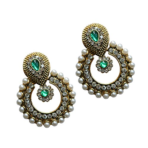 Ramleela Dangle Earring with an Ethnic Look (Green) (UERLET02RD-G)  available at amazon for Rs.210