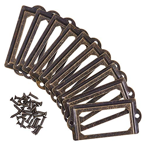 Especificaciones:    Material: hierro.    Color: bronce.    Tamaño: 7 x 3,3 cm.    Los soportes de etiquetas se utilizan ampliamente en cajones de archivos, estantes, estanterías, estanterías, etc.    El paquete incluye:    35 soportes para etique...