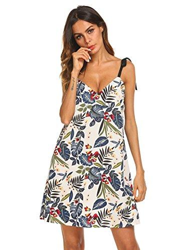 Damen Kleid Spaghetti Strap V Ausschnitt Elegant Floral Print Kleid Sommerkleider Strandkleid A-Linie Kleid beiläufige Loose Fit Cami Tunika Kleid