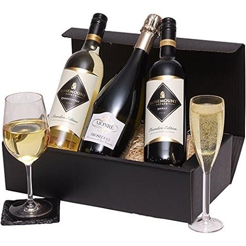 Die Mixed Trio Wein-Geschenk - Rotwein, Weißwein & Sekt -