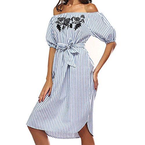 Elecenty Damen Schulterfrei Strandkleid Partykleid Streifen Sommerkleid Rock Mädchen Kleider Knielang Frauen Mode Kurzarm Kleid Minikleid Kleidung Hemdkleid Blusekleid (S, Blau)