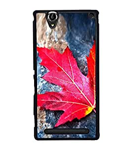Orange Red Palm Leaf 2D Hard Polycarbonate Designer Back Case Cover for Sony Xperia T2 Ultra :: Sony Xperia T2 Ultra Dual SIM D5322 :: Sony Xperia T2 Ultra XM50h