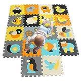 MQIAOHAM Schaumstoffspielmatte für Babys und Kinder | 18 Eva-Schaumbodenfliesen mit dickeren und weicheren Puzzlematten für Tiere zum Krabbeln und Lernen | 100% sicher, ungiftig, geruchlos 011014