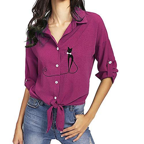 TUDUZ Damen Elegant Stickerei Katze Langarm Knopf Bluse Oberteile Elegant Lose Oberteile Top Shirts(XXXXL,Pink) (Halloween Kostüme Selbstgemacht Katze)