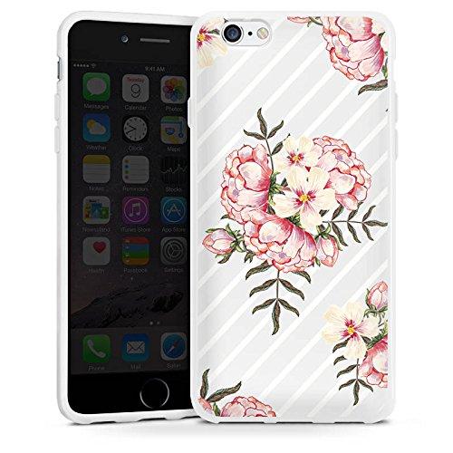 Apple iPhone 5c Silikon Hülle Case Schutzhülle Blumen Streifen Muster Silikon Case weiß