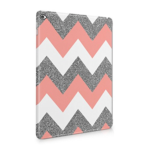 Coral Pink Chevron Glitter Pattern Tumblr Dünne Rückschale aus Hartplastik für iPad Air 2 Tablet Hülle Schutzhülle Slim Fit Case Cover -