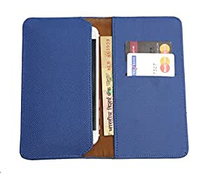 FING ™ Logo Blue Dotted Designer Wallet Pouch Mobile Cover Case with Card holder Slots for Intex Aqua Wing