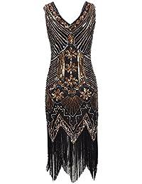 Años 20 Estilo Gatsby Disfraz Vestido con Flecos de Lentejuelas Vestido Fiesta Mujer Faldas Mujer Verano
