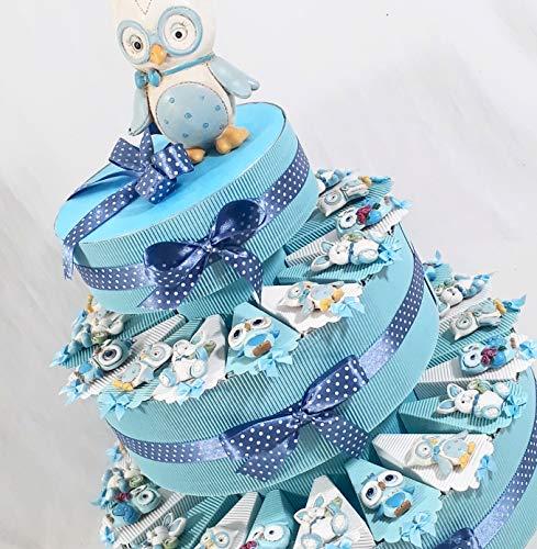 Torta bomboniera per nascita battesimo bambino azzurra animaletti calamita comunione-cresima-compleanno
