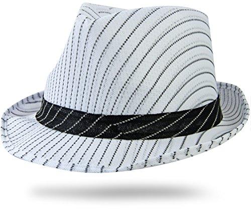 Mafia Gangster Hut Weiss Nadelstreifen Hutband -