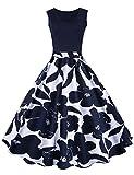 iShine elegant Rockabilly Kleid Damen Knielang V-Ausschnitt 50s Retro Vintage Faltenrock Ärmellos Partykleid Cocktailkleid Festliches Kleid mit Blumen Spleiß-DB-XL