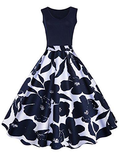 iShine elegant Rockabilly Kleid Damen Knielang V-Ausschnitt 50s Retro Vintage Faltenrock Ärmellos Partykleid Cocktailkleid Festliches Kleid mit Blumen (Retro Kleid)