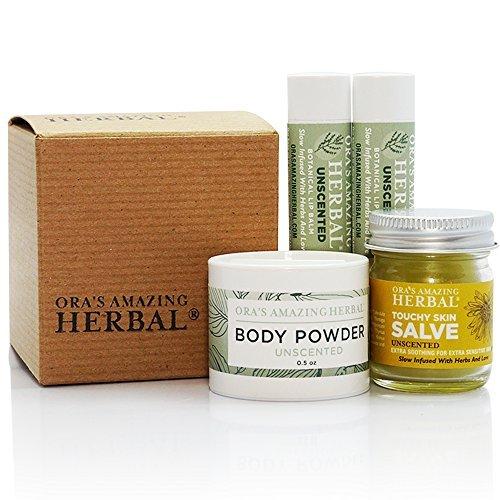 Ora's Amazing Herbal Scent Free Supply kit (2 pak Unscented Lip Balm, 1 oz Touchy Skin Salve, .5 oz Body Powder) by Ora's Amazing Herbal (Powder Body Unscented)