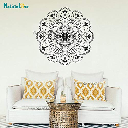 Stechapfel Mandala Ornament Marokkanischen Yoga Thema Aufkleber Wandkunst Dekor Für Zuhause Vinyal Wandaufkleber Blume Studio Dekoration 86x86 cm