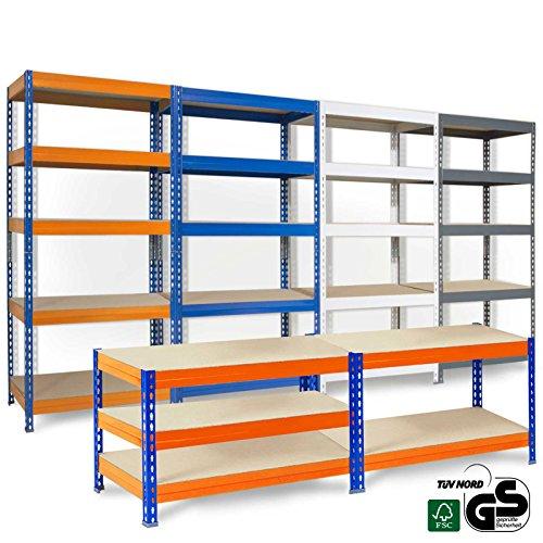 Preisvergleich Produktbild Office Marshal® Steckregal Grizzly - 4 Größen/4 Farben - 175kg Tragkraft/Boden, TÜV/GS-geprüft - kombinierbar