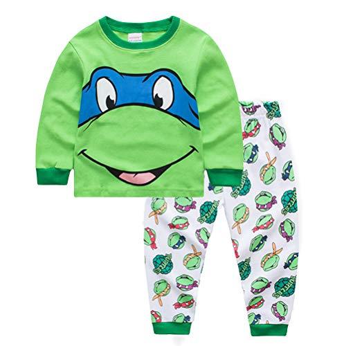 2019 Zweiteiliger Schlafanzug FüR Kinder Langarm Baumwolle Teenage Mutant Ninja Turtle Print Kinder-Cartoon Baumwolle T-Shirt Hose Gesetzt Homewear ()