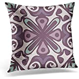 TEPEED Throw Pillow Cover Lavender of Purple Green Pattern Lilac Decorative Pillow Case Home Decor Square 18 x 18 Inches/45 x 45cm Pillowcase