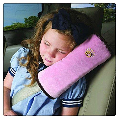 Tefamore Autositze Gurtpolster Schlafkissen Nackenstütze , Baby Kinder Sicherheitsgurt Auto Sitz Gürtel Kissen Schulter Schutz (Rosa) (Auto Kissen Für Kinder)