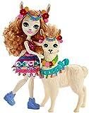 Enchantimals Mini-poupée Lluella Lama et figurine animale Fleecy aux longs cheveux châtains bouclés, jupe amovible et bandeau, jouet pour enfant, FRH42