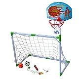 Wgwioo Fußball und Basketball Tor 2 in 1, mit Fußball Basketball und Pumpe, Kinder Sport Outdoor-Heimspiel Spielzeug