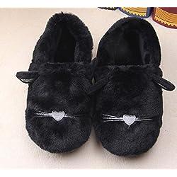 CWAIXXZZ zapatillas de felpa Paquete de diversión familiar con zapatillas de algodón de invierno de los hombres y mujeres de niño lindo cartoon gatos y artistas que estancia ,190 zapatillas de lana de 18cm, largo negro