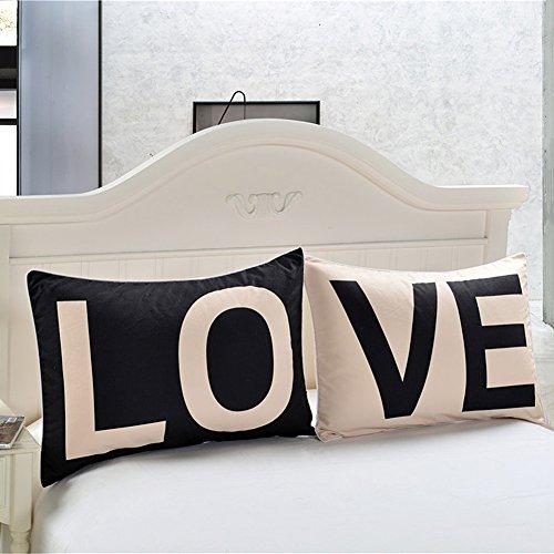 Coppia di federe sundlight 50x90cm nero / bianco amore lettera patterns pillowcases idea regalo romantico per il natale anniversario giorno di san valentino di nozze