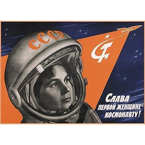 Gloria a la primera mujer astronauta!, 1960's Rusia Unión Soviética Cosmos Propaganda Reproducción sobre Calidad 200gsm de espesor en Cartel A3 Tarjeta
