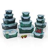 GOURMETmaxx 02432 Frischhaltedosen klick-it, Luftdichte Aufbewahrungsboxen, 28 Teile, Geeignet für Mikrowelle, Gefrierschrank und Spülmaschine, Kunststoff-Bpa Frei, Smaragd-Grün
