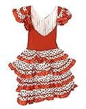 Vestido Flamenco Disfraz Sevillanas Rosa Rojo Topos (Blanco, 4-5 Años)