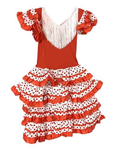 Vestido Flamenco Disfraz Sevillanas Rosa Rojo Topos (Blanco, 10-11 Años)