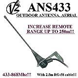 Outdoor Antenne/Antenne V2ans433Für Tor Automatisierung-Receiver, 433mhz-868mhz, 50Ohm mit 2,5m Kabel RG58. Top Reichweite bis zu 250m.
