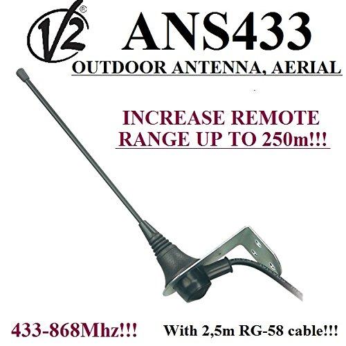 V2 ANS433 Professionelle externe empfangsantenne / antenne / aerial / antenna 433Mhz-868MHz, 50 Ohm mit 2,5m Kabel RG58, Torantrieb Garagentor. Bis zu 250 m Reichweite!!! - Board Control Torantriebe