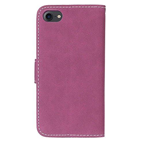 iPhone Case Cover IPhone7 Case, couleur unie Premium PU Housse en cuir Housse Frosted Retro Flip Case Stand Case Avec Card Slots Cadres Photo Pour Apple IPhone 7 ( Color : 2 , Size : Apple IPhone 7 IP 2