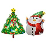 SpringPear® 1x Weihnachtsbaum + 1x Schneemann Aluminiumfolienballon Aufblasbare Luftballon Deko für Weihnachten Weihnachtsdekorationen DIY Ballon Partyzubehör (2 Pcs)