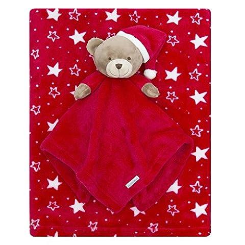 Cadeau de Noël Couverture pour bébé et ours en peluche doudou Ensemble de fantaisie étoile rouge Cadeau
