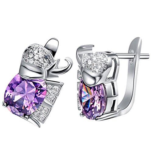 nykkola Fashion Bijoux en argent 925sterling Argenté Plaqué sutd Boucles d'oreilles Boucles d'oreilles carrée en cristal, cadeau pour femmes Lady Ado Fille violet