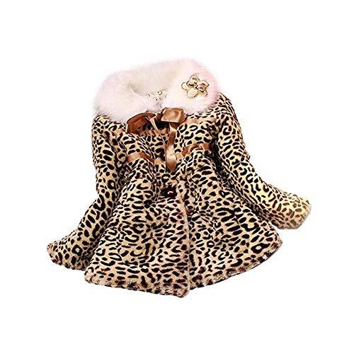 Per Abrigos Niñas Bebés Invierno Chaquetas de Pelo SIntético Patrón de Leopardo de Moda Abrigos Niñas Infantiles