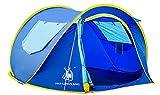 Ghlee 2-3 person Pop-up Automatische Zelt für Camping Reise Outdoor instant Zelt Familie Pop Up Zelt für Strand cabana in Blau (L * B * H 240 * 180 * 105 CM)