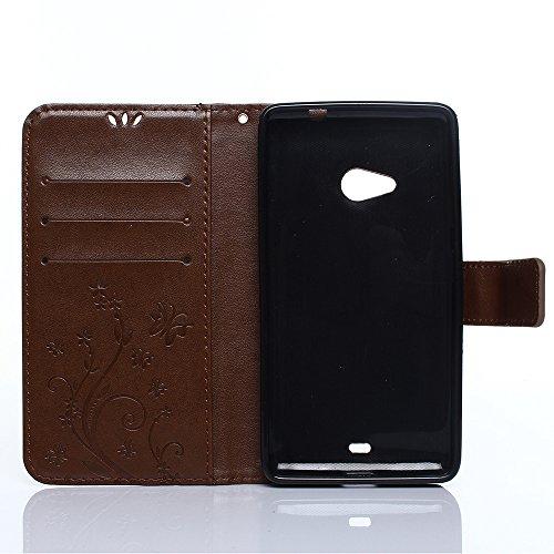 Cover Protettiva Nokia N535, Alfort 2 in 1 Custodia in Pelle Verniciata Goffrata Farfalle e Fiori Alta qualità Cuoio Flip Stand Case per la Custodia Nokia N535 Ci sono Funzioni di Supporto e Portafogl Marrone